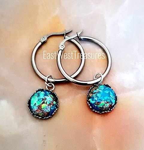 Silver Hoop Teal (Turquoise Teal Blue aquamarine gemstone earrings-Circle dangle drop Hoop earrings-Silver steel Jewelry for women)