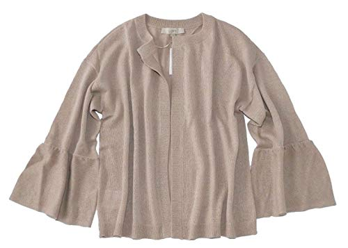 Cardigan Ann Taylor - LOFT - Women's - Bell Sleeve Open Cardigan Sweater (Large, Beige)