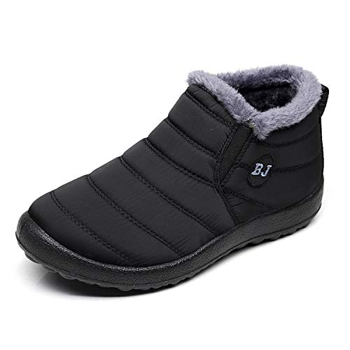 Waterproof Snow Sneakers Boots Fur Lined Ankle High-Top Outdoor Slip-on Booties Anti-Slip Winter Shoes for Womens Men Black W36