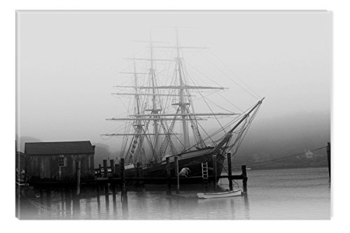 Startonight Canvas Wall Art Black and White Abstract Old Ship in Harbor, Dual View Surprise Artwork Modern Framed Ready to Hang Wall Art 100% Original Art Painting 32