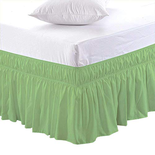 Black Friday & Cyber Monday Deals ! Ruffled Wrap Around Bed Skirt-6 Inches Drop Easy Fit Twin XL Size Sage Solid (Available for All Bed Sizes and Colors)]()