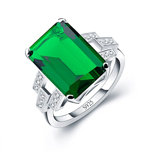 A ANGG Women 5.9ct Green Emerald Ring 925 Sterling Silver Engagemen Wedding Jewelry - Lab Created Emerald Ring