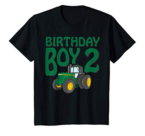 Kids 2nd Birthday Green Farm Tractor Shirt | Two 2 Year Old (John Deer Birthday)