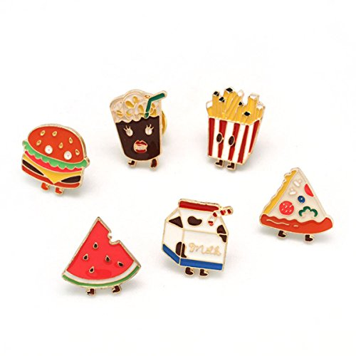 - MeliMe Cute Animal Floral Fruits Enamel Brooch Pins Cartoon Lapel Pins Lovely Badge for Women Kids Clothing Decoration (Fast food style set of 6)