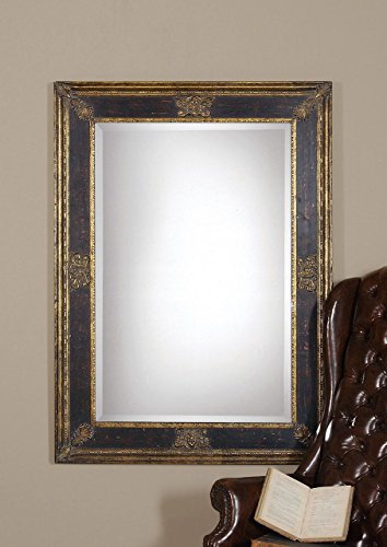Intelligent Design Ornate Extra Large Black Gold Wall Mirror | Masculine Antique