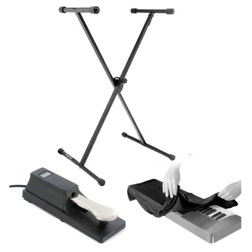 On Stage Classic Single-X Keyboard Stand With On Stage KSP100 Universal Sustain Pedal With Keyboard Dust Cover for 88 Key Keyboards Bundle by OnStage