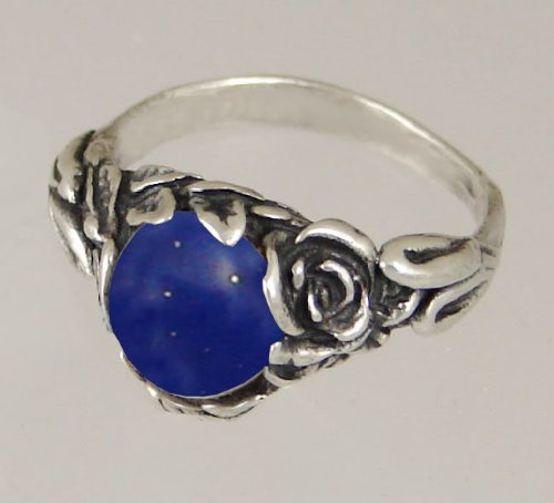 An Elegant Sterling Silver Gothic Ring Featuring Lapis Lazuli Made in America