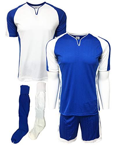 (Soccer Uniforms 4 pcs SET, Royal/White ( Two Jerseys, One Short and One Pair of Socks ) 15 Set minimum order (Adult Large))