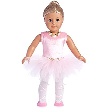 Prima Ballerina - 3 piece ballerina outfit - pink leotard with tutu, white tights and ballet shoes - 18 Inch Doll Clothes (doll not included)