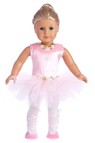 Prima Ballerina - 3 Piece Ballerina Outfit - Pink Leotard with Tutu, White Tights and Ballet Shoes - 18 Inch Doll Clothes (Doll not Included) (American Ballerina Doll)