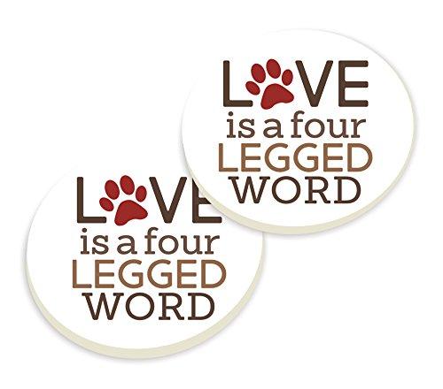 P. GRAHAM DUNN Love is a Four Legged Word Pawprint White 3 x 3 Ceramic Car Coasters 2 Pack ()