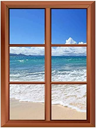 Removable Wall Sticker Wall Mural Tropical Beach and Clear Waves Creative Window View Vinyl Sticker
