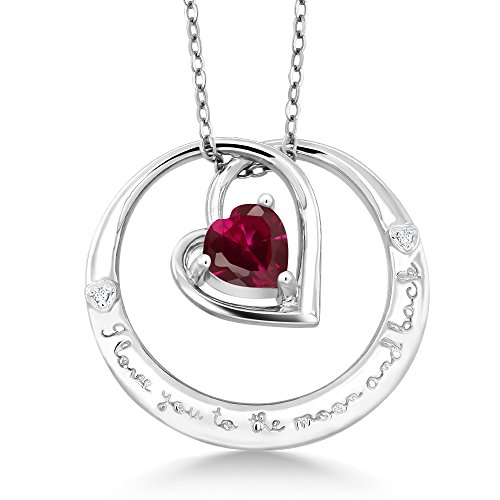Gem Stone King 925 Sterling Silver inchesI love you to the moon backinches Created Ruby and Diamond Pendant Necklace with 18 Inch Silver Chain