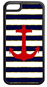 Red Anchor on Gold Print and Navy Stripes- Case for the APPLE iphone 5 5s ONLY!!!-NOT COMPATIBLE WITH THE iphone 5 5s!!!-Hard Black Plastic Case with Soft Black Rubber Inner Lining