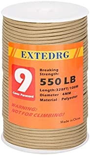 EXTEDRG 550 Paracord 9-Strand Rope 328ft Utility Parachute Cord for Outdoor Survival Hiking Camping Hunting St