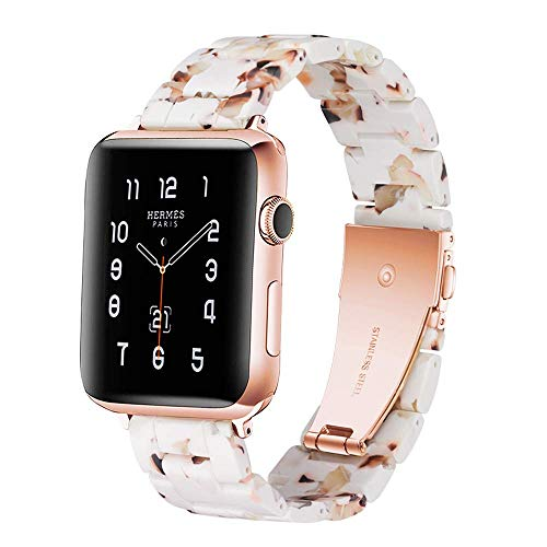 Light Apple Watch Band - Fashion Resin iWatch Band Bracelet Compatible with Copper Stainless Steel Buckle for Apple Watch Series 4 Series 3 Series 2 Series1 (Nougat White, 42mm/44mm)