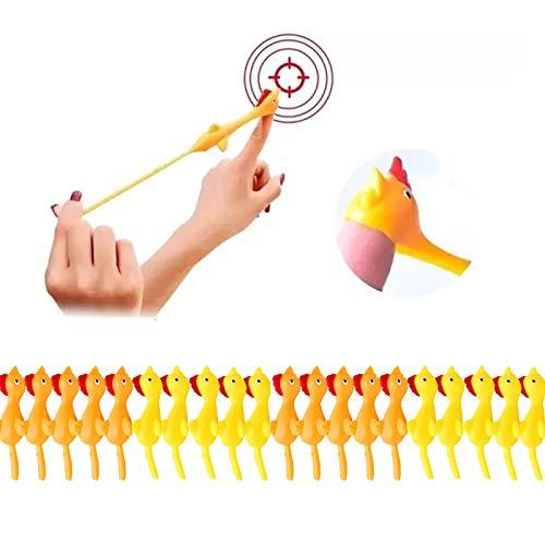 Justwide 2/4/6/8/10/12/14/16/18/20 Pcs Kreatives Pop-up Hühnerspielzeug Leichter Gummifinger Streich Fliegendes Dekompressionsspielzeug (20PCS)