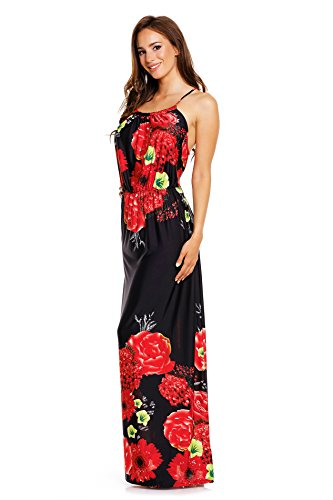 Mia Suri Vestido largo de tirantes para mujeres altas Black/Red Roses