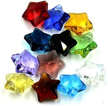Amazon.com: Calvas 20pcs/lot Charm Star Pendant Five-Star Shape Mixed 14MM Crystal Glass Faceted Loose Beads DIY Jewelry Design Supplies - (Color: Mixed): Arts, Crafts & Sewing