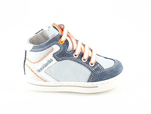 NEGRO JARDINES JUNIOR 23811 zapatos de bebé de la perla de la zapatilla de deporte mediados postal Grigio