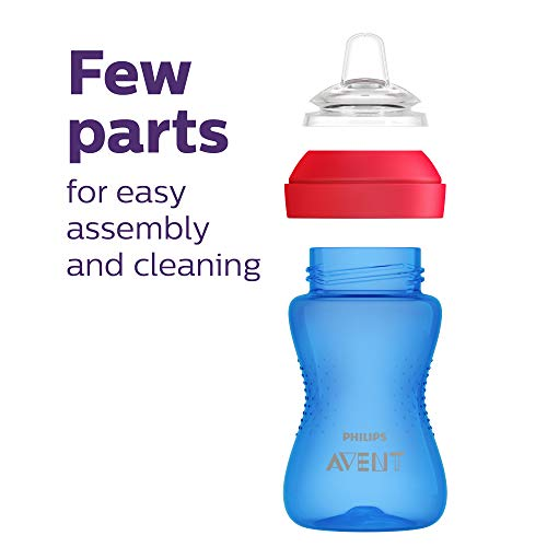 41O0d%2BS3QcL - Philips AVENT My Grippy Spout Cup, 10oz, 2pk, Blue/Green, SCF801/21