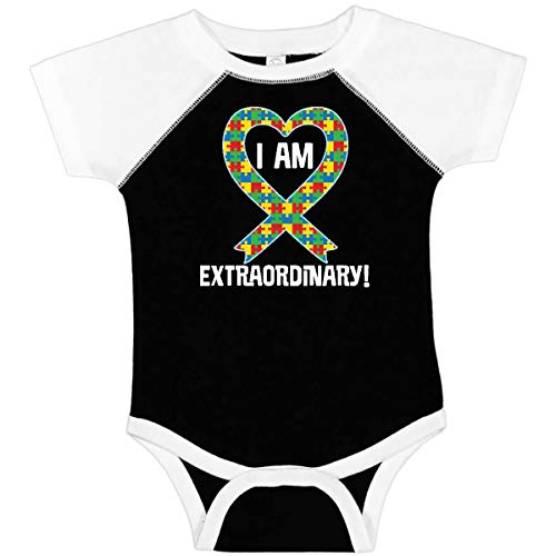 inktastic I Am Extraordinary Autism Infant Creeper 12 Months Black and White