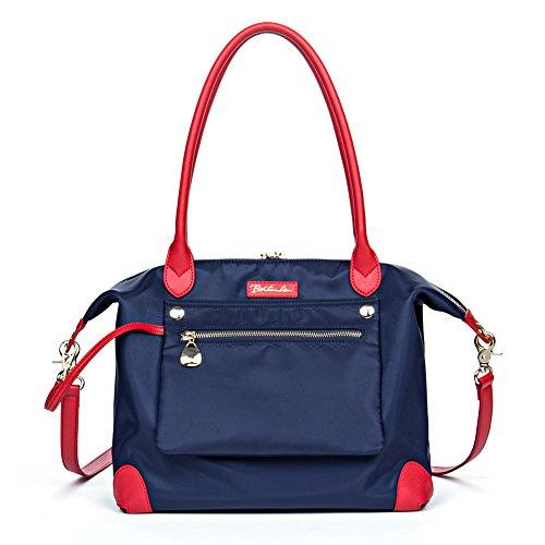 BOSTANTEN Women Work Hobo Bag Large Tote Shoulder Handbag Blue with Red