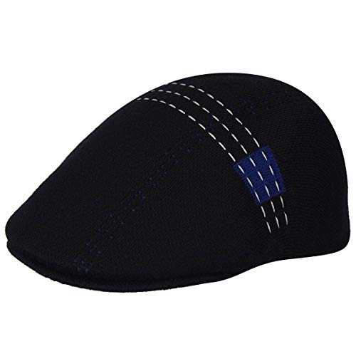 Kangol Mens Flat Cap - Kangol Men's Future Stitch 507 Flat Ivy Cap HAT, Black, L