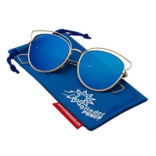 grinderPUNCH Women's Cat Eye Aviator Sunglasses Flat Mirrored Lens - Blue - Aviator Leather Side Sunglasses Shields