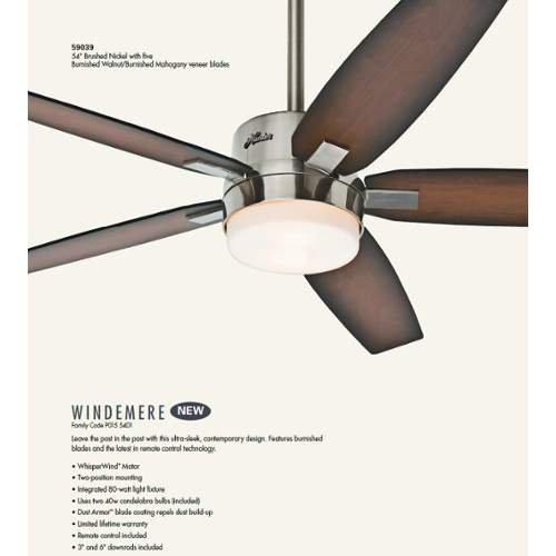 Travel Ceiling Fan : Hunter windemere brushed nickel ″ ceiling fan