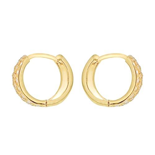 Orecchini 9k Giallo Cubica Oro Da Con 375 Donna Gold A Cerchio Zirconia Carissima qw54SS