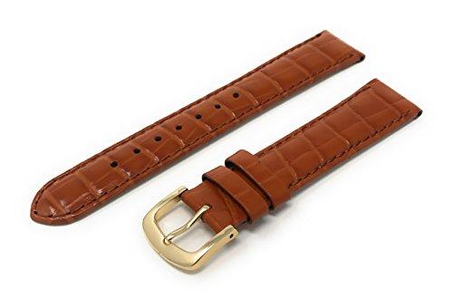 Mens Alligator Grain Watchband Tan 19mm Watch Band - by JP Leatherworks (Alligator Tan Grain)