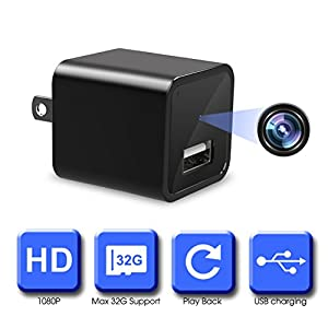 Mini Hidden Camera, 1080P HD Hidden Camera, USB Wall Charger Adapter with Mini Hidden Camera for Home Surveillance, Not Support WIFI & Not Include Micro SD Card (Black)