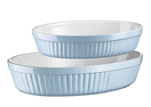 2 Piece Oval Baking Dish - Mäser, Kitchen Time Series, Oval Pie Baking Dish, 2 Piece Cake Tin Set in Blue