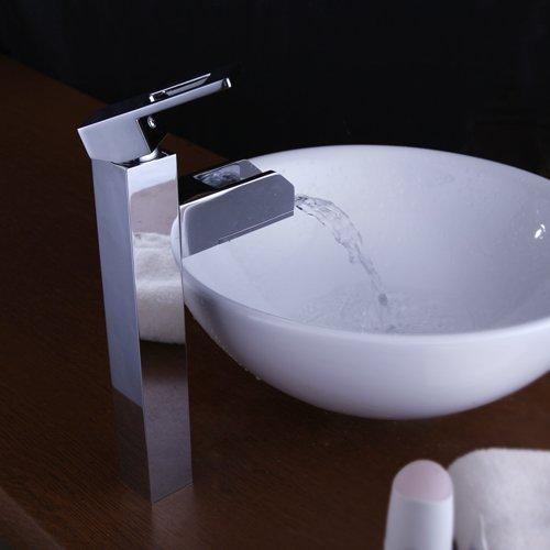 SODIAL(TM) Modern Single Handle Waterfall LED Bathroom Vessel Sink Faucet, Chrome