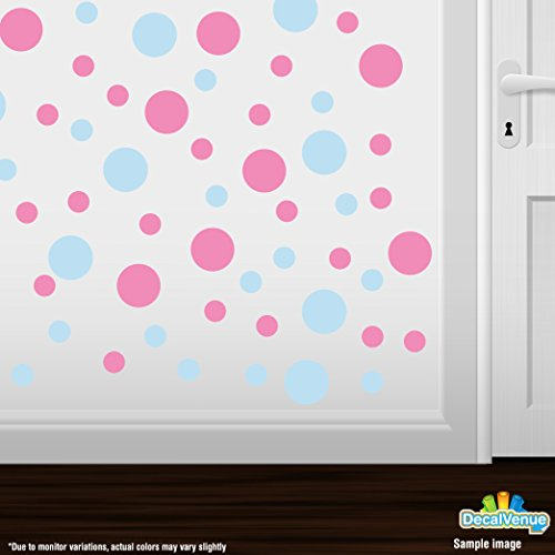 Set of 30 - Circles Polka Dots Vinyl Wall Graphic Decals Stickers (Baby Blue / Pink)