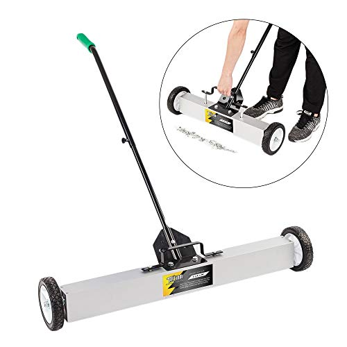 TUFFIOM 36-Inch Rolling Magnetic Pick-Up Sweeper | 30-LBS Capacity, with Quick Release Latch & Adjustable Long Handle, for Nails Needles Screws Collection