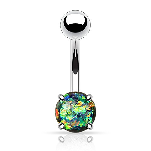 Fifth Cue 14G Opal Glitter Prong Set 316L Surgical Steel Belly Button Ring (Synthetic Opal) (Forest ()