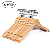 Amber Home Solid Gugertree Shirt and Dress Hangers with Chrome Hook 10 Pack Father