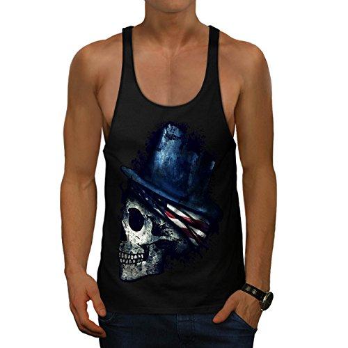 Wellcoda Horror America Flag Skull Men M Gym Tank Top (Halloween Movie Death Scenes)