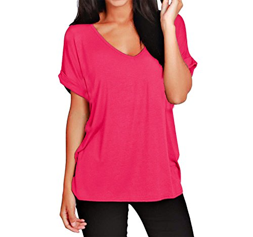 Damen Turn Up Sleeve V-Ausschnitt Baggy mit Flügelärmeln T.Shirts Größe: One Size Hot Pink pSJyhU