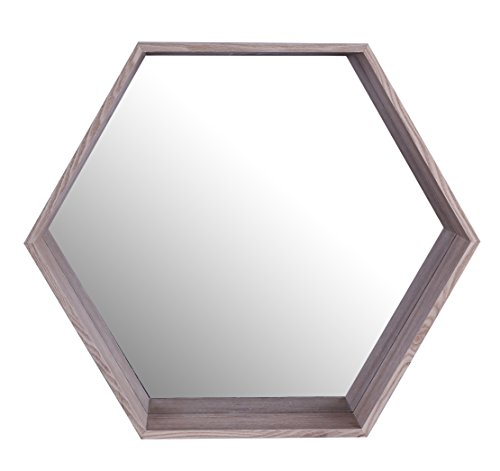 ArtMaison.ca 20x17 Hexa, Wooden Shelf Mirror, Medium, Brown