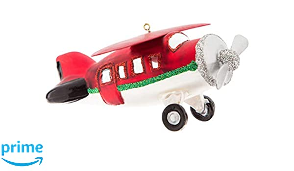 Christmas Holiday Metal Airplane Ornament with Crystal Accents