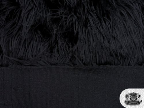 Faux/Fake Fur Mongolian Fabric Sold by The Yard (Black)