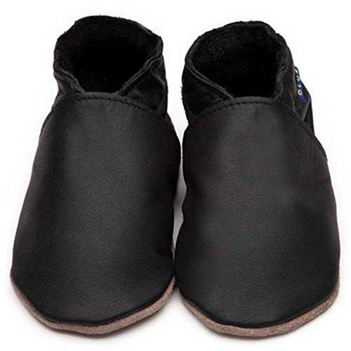 Inch Blue niñas niños funda de piel suave suela zapatos de para cochecito de bebé, color negro