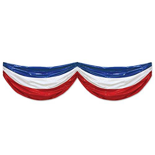 (Beistle 52133-RWB Patriotic Plastic Bunting, 3' x 15', Red/White/Blue)