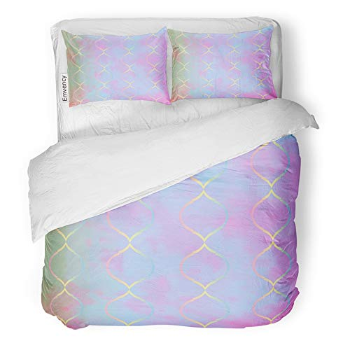 Emvency Decor Duvet Cover Set King Size Teal Mermaid Trellis on Pink Blue Purple Gradient Scales Announcement Baby Birthday 3 Piece Brushed Microfiber Fabric Print Bedding Set ()