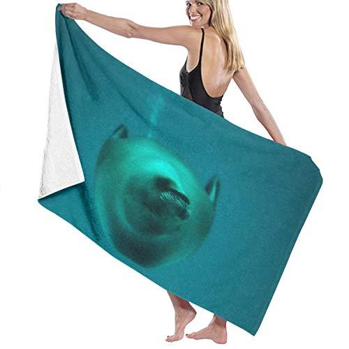 ERGOU Bath Beach Travel Towel Sea Lions in Deep Sea Microfiber Fast DryingSwim Blanket Lightweight Ultra Absorbent Shower