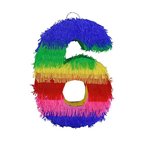 LYTIO 3D Number Six Pinata Vibrant Colored Paper Piñata Great for Any Birthday or Anniversary Party, Décor, Photo Prop, Center Piece ()