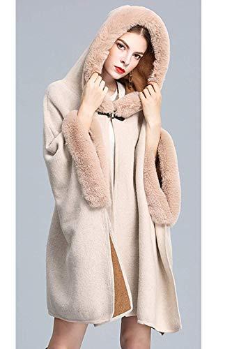 Invierno Bastante Estolas Mujer Manga Vestido Caliente Outwear Espesar Chal Capa Fiesta De Elegante Larga Apricot Con Pieles ZZxrEOSwq